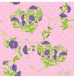 Seamless pattern - Convolvulus Flowers hearts vector image