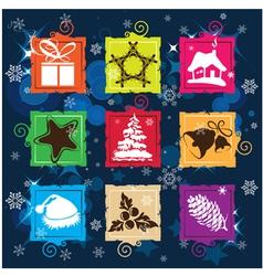 Set Christmas icon background vector image