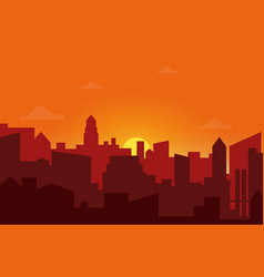 Sunset in the city Cityscape silhouette sunrise vector image vector image