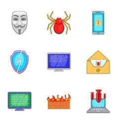 Virus icons set cartoon style vector image