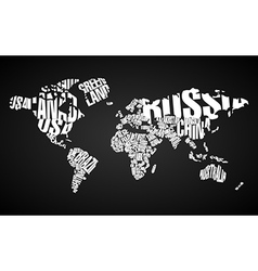 World Map in Typography vector image