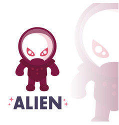 alien in space suit in flat style over white vector image
