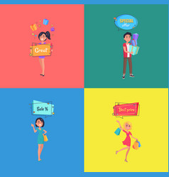 set of posters with people making shopping vector image