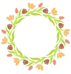 Tulip Wreath Frame vector image vector image