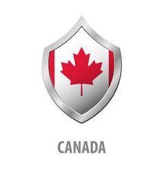 canada flag on metal shiny shield vector image