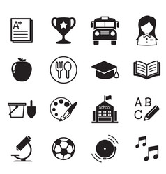 kindergarten school education icons vector image