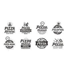 Pizza set logo label element pizzeria vector