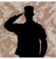Saluting soldier on a desert army background vector