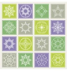 Set of floral monogram design Line art elements vector image vector image