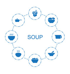 8 soup icons vector