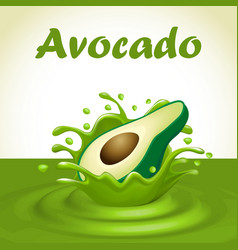a splash of juice from a falling avocado and drops vector image vector image