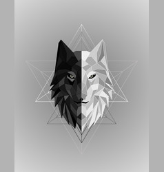 abstract polygonal wolf head design vector image
