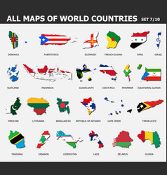 all maps world countries and flags set 7 of vector image
