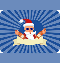 bad santa claus with two bottles of booze and vector image