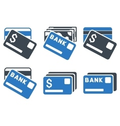 Banking Cards Flat Icons vector