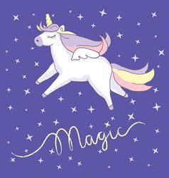 beautiful unicorn on night sky background vector image