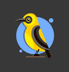 Bird oriole on the branch flat style logo for vector