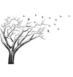 Brush sketch of tree and birds vector