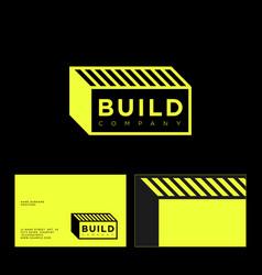 Building logo letters form brick business card vector