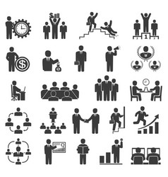 Business people in work office icons conference vector