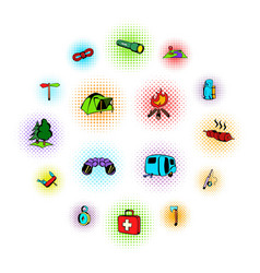 camping comics icons vector image