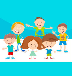 cartoon funny children characters group vector image