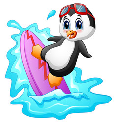 Cartoon penguin surfing on water vector