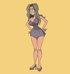 cartoon woman in a short dress is standing with vector image