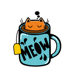 Cat in the cup of tea vector