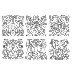 Celtic outline entwined mystical animals vector image