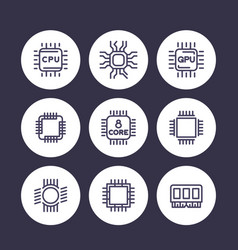 Chipset cpu line icons set microchip gpu 8-core vector
