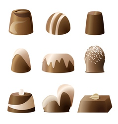 Chocolate bonbon set vector