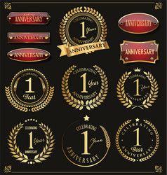 Collection of anniversary retro laurel wreats 1 vector