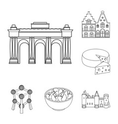 country belgium outline icons in set collection vector image
