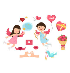 Cupid valentine set vector