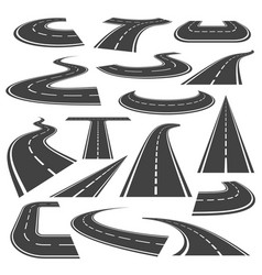 curved roads icon flat style set vector image