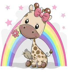 Cute cartoon giraffe with flower vector