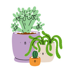 cute cartoon succulents in pots vector image