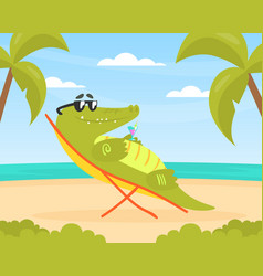 cute crocodile character sitting on wooden chair vector image