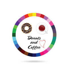 donuts and coffee icon vector image