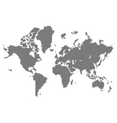 dotted black world map isolated on white vector image