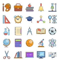 Education school icons set line art isolated vector