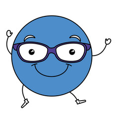emoticon with glasses character vector image