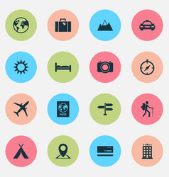 Exploration icons set collection of mount doss vector