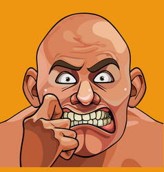 Face of a cartoon bald funny man very frightened vector