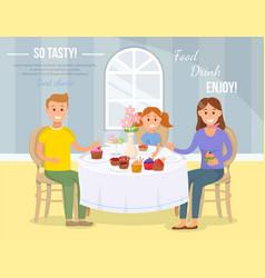 Family home tea concept flat vector