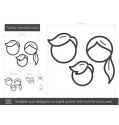 family members line icon vector image vector image