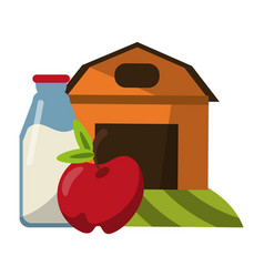 farm house with apple and milk bottle vector image