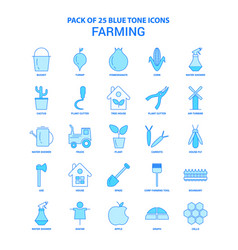 Farming blue tone icon pack - 25 icon sets vector