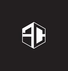 Fc logo monogram hexagon with black background vector